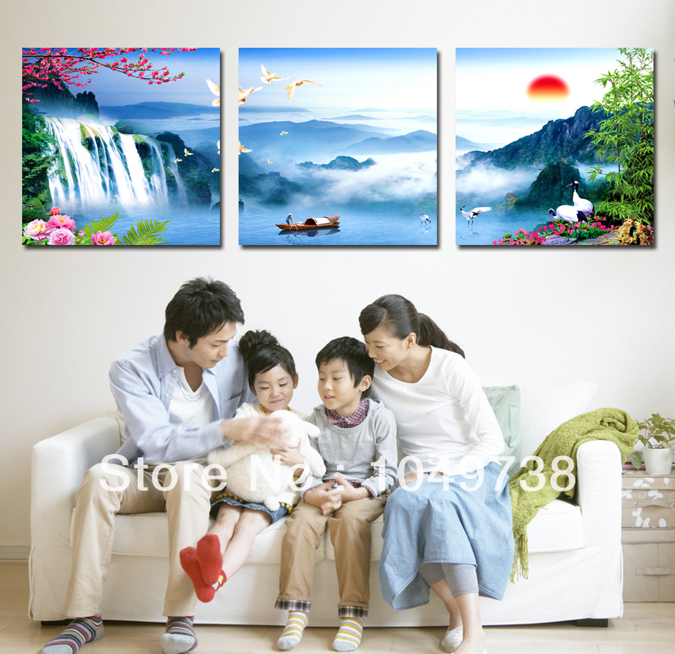 Free shipping wall art painting blue Chinese landscape painting picture on the wall 3 piece for living room wall painting canvas(China (Mainland))