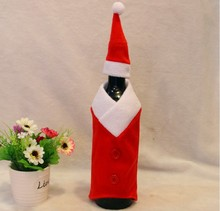 2 Pcs Hot Selling Christmas Santa Clause Clothing Hat Dress Wine Bottle Cover Gift Home Decoration Holiday Party New Years