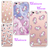 For Apple iPhone 6 6S 5 5S Famous Cartoon Unicorn Horse Back Case TPU Soft Transparent Case Cover Coque Factory Price Wholesale