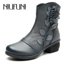 2016 Nueva Moda Otoño Invierno de Las Mujeres Espesan Flor Tacones Cuadrados Zapatos de Cuero Genuinos de Las Mujeres Mediados de la Pantorrilla Botas de Nieve(China (Mainland))