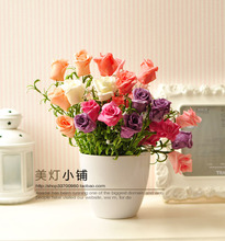Three-dimensional artificial rose rubber flower fashion home rustic artificial flower(China (Mainland))