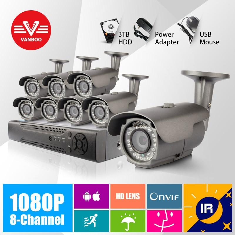 8CH CCTV kit IR CUT Night Vision P2P Plug and Play 1920*1080P 2MP ONVIF 2.0 Waterproof Outdoor Bullet IP Camera(China (Mainland))