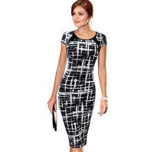 Buy Sexy Summer Women Casual Work Business Dress Slim Elegant Bodycon Pencil Short Sleeve Vintage Office Knee- Length Dress B287 for $10.92 in AliExpress store