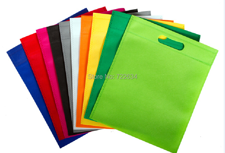 100pcs/lot eco recyclable non woven shopping bags without your logo 12 colors 5 size for your choice free shipping(China (Mainland))