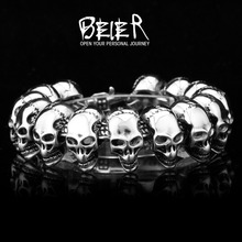 Wholesale Fashion Men's Heavy Metal Man's Punk Biker Skull Round Bracelet Free Shipping SMTSL03