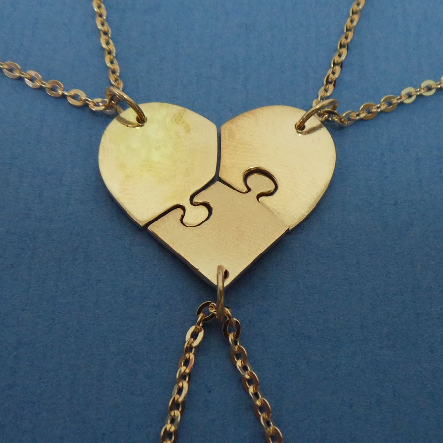 1 set New Fashion friendly Set of 3 Best Friend Puzzle Heart Necklaces Best Friend Necklaces for 3 Girlfriend and sisters gifts