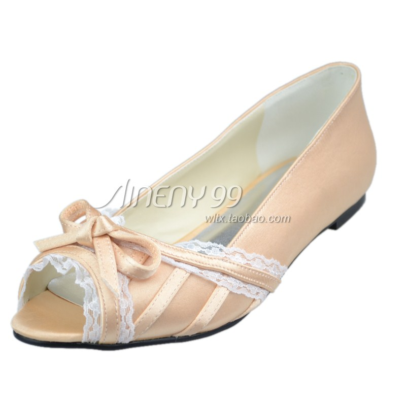 Aineny99 Bridal Shoes Open Toe Shoes Womens Champagne Color Wedding Shoes Flat Heel Single