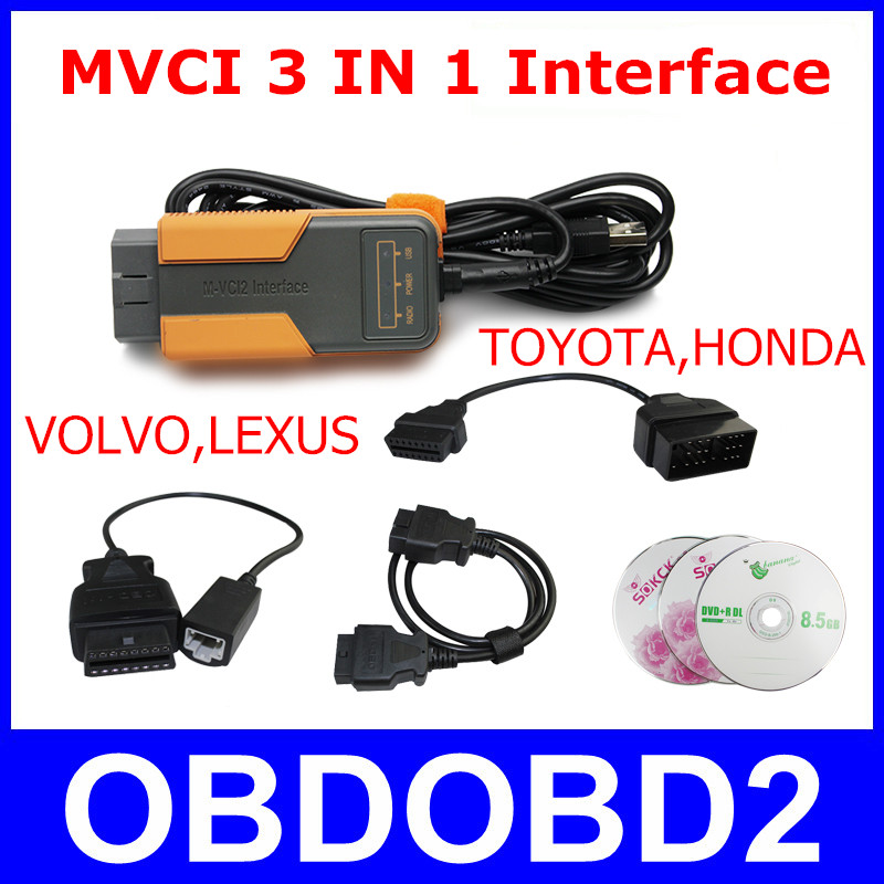 MVCI 3 IN 1 Interface For TIS / HDS / VOLVO Dice / LEXUS Diagnostic Tool Key Programming OBDII MVCI Scanner M-VCI M-VCI2(China (Mainland))