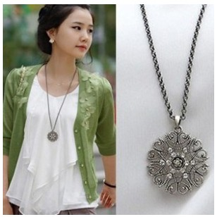 Min. order $9(mix order) Free shipping Fashion major circular hollow flower long necklace sweater chain jewelry for Women(China (Mainland))