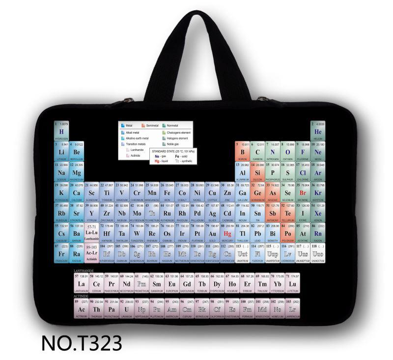 Periodic table Computer Accessories Fashion Neoprene Laptop Bag Cases Pro Notbook Sleeve Cover For Ipad 12-17inch(China (Mainland))