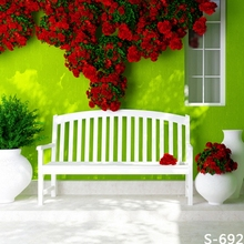 New Arrival Vinyl Backdrops For Photography Green Screen With Red Flowers White Floor Wedding Photo Background Studio