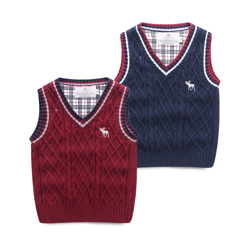 New 2014 Brand Children Clothing Baby Boys Knitted Sweater Vest Kids Sleeveless for Spring Autumn Winter(China (Mainland))