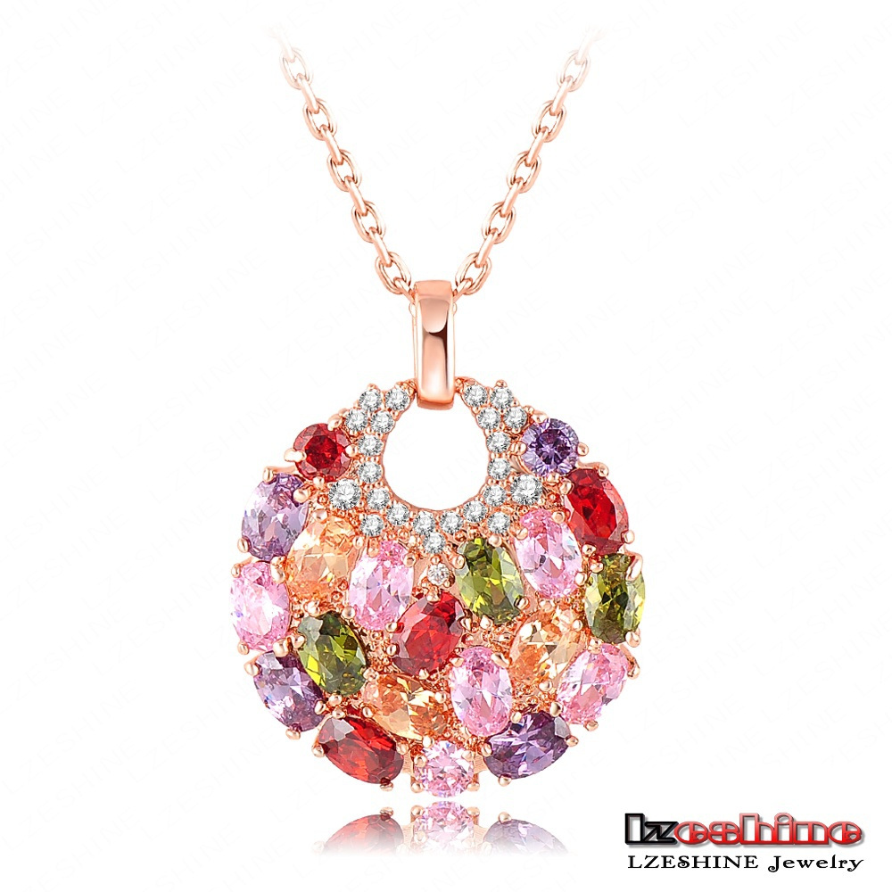 LZESHINE Brand 18K Rose Gold Plated Necklaces & Pendants Micro Inlay Multicolor AAA Cubic Zircon Collares Pingente CNL0008-A(China (Mainland))