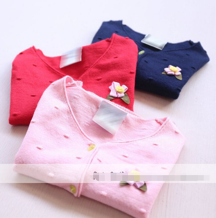 2016 New Girls sweaters Children Baby 3D dots Chest flowers knitted cardigan wholesale<br><br>Aliexpress