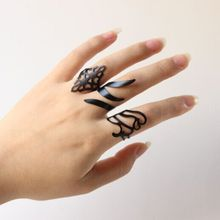 3Pcs/Set Anel Fashion Top Of Finger Over The Midi Tip Finger Above The Knuckle Rings Black Punk Women Fine Jewelry(China (Mainland))