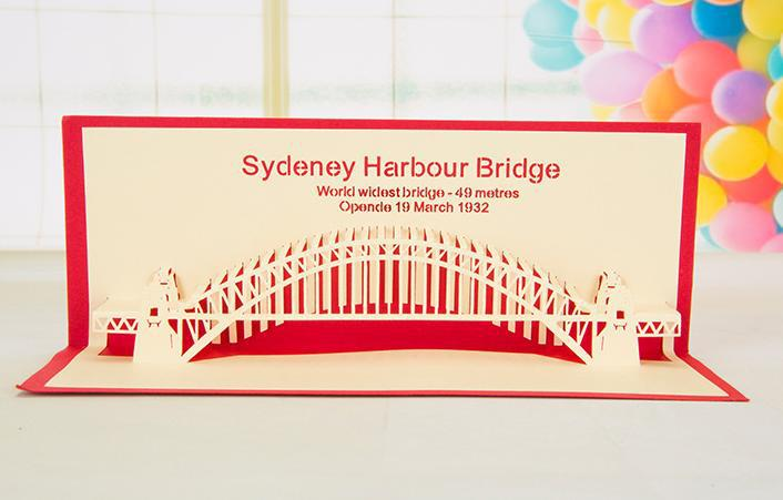 diy Sydeney Harbour Bridge building paper card cut handmade postcard set 3d Greeting Cards Gift Cards(China (Mainland))