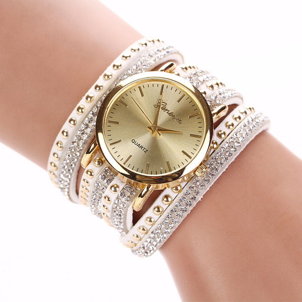 8 Colors New Arrival luxury brand Casual Women's Watches PU Leather Korean Crystal Rivet Bracelet Watch Girls ladies Watches(China (Mainland))