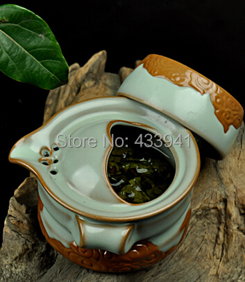 gaiwan Ru ware Ru Porcelain Ceramic tea sets Chinese Kung Fu Tea Quik Cup One pot