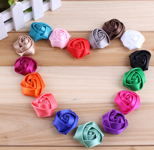 20pcs/lot 2015 Trial Order classical chic mini satin rose flowers Flat Back Girls Flower Headbands Accessories bandana(China (Mainland))