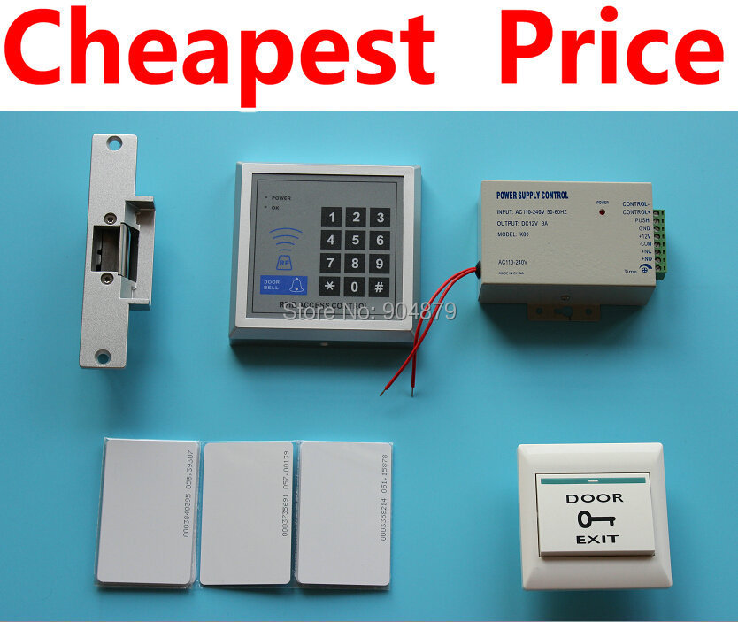 Cheapest Price Of All In AliexpressRFID Access Control System Kit Set + Strike Door Lock + ID Card Keytab + Power + Exit Button(China (Mainland))