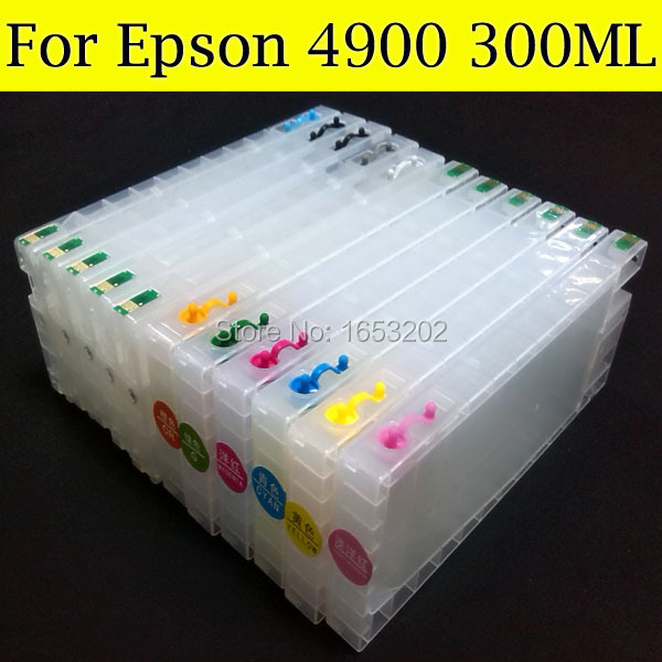High Volume refillable ink cartridges with auto reset chip for Epson 4900 printer<br><br>Aliexpress