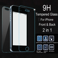 2 pcs/lot Front + Back Premium Tempered Glass for iPhone 5s 5c 5 Anti-scratch 0.25D Arc Edge Screen Protector Film for iPhone5 s