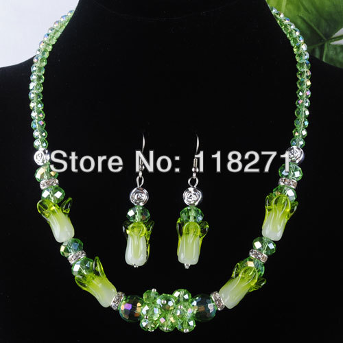 Women Jewelry Green Crystal Dichroic Glass Beads Necklace Earrings jewelry sets PM313 - Bill store