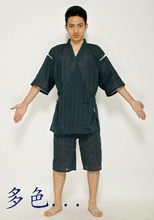 Free shipping Men's kimono nightgown short-sleeved summer garments ramie cotton pants in the Japanese house coat(China (Mainland))