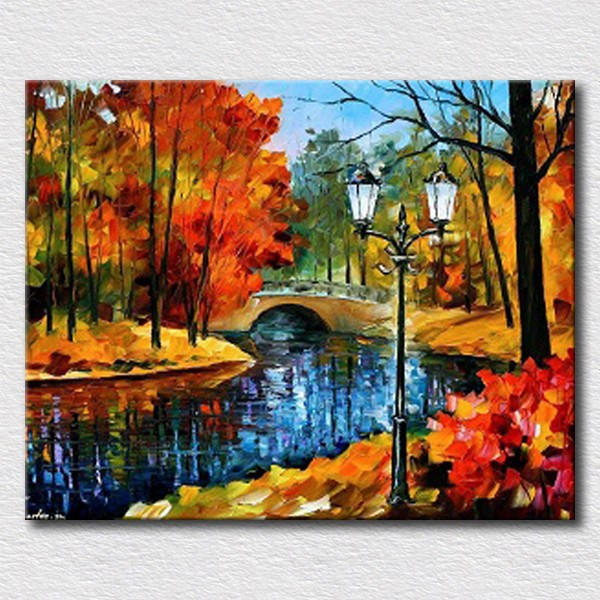 Nice Autumn Landscape Handpainted Oil Painting For Bedroom Decoration Canvas