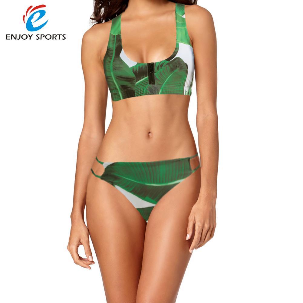 Sexy Women Palm Leaf Print Bikini Set Low Waist Push Up Tropical Forest High-cut Beachwear Swimsuit Bathing Suit Green(China (Mainland))