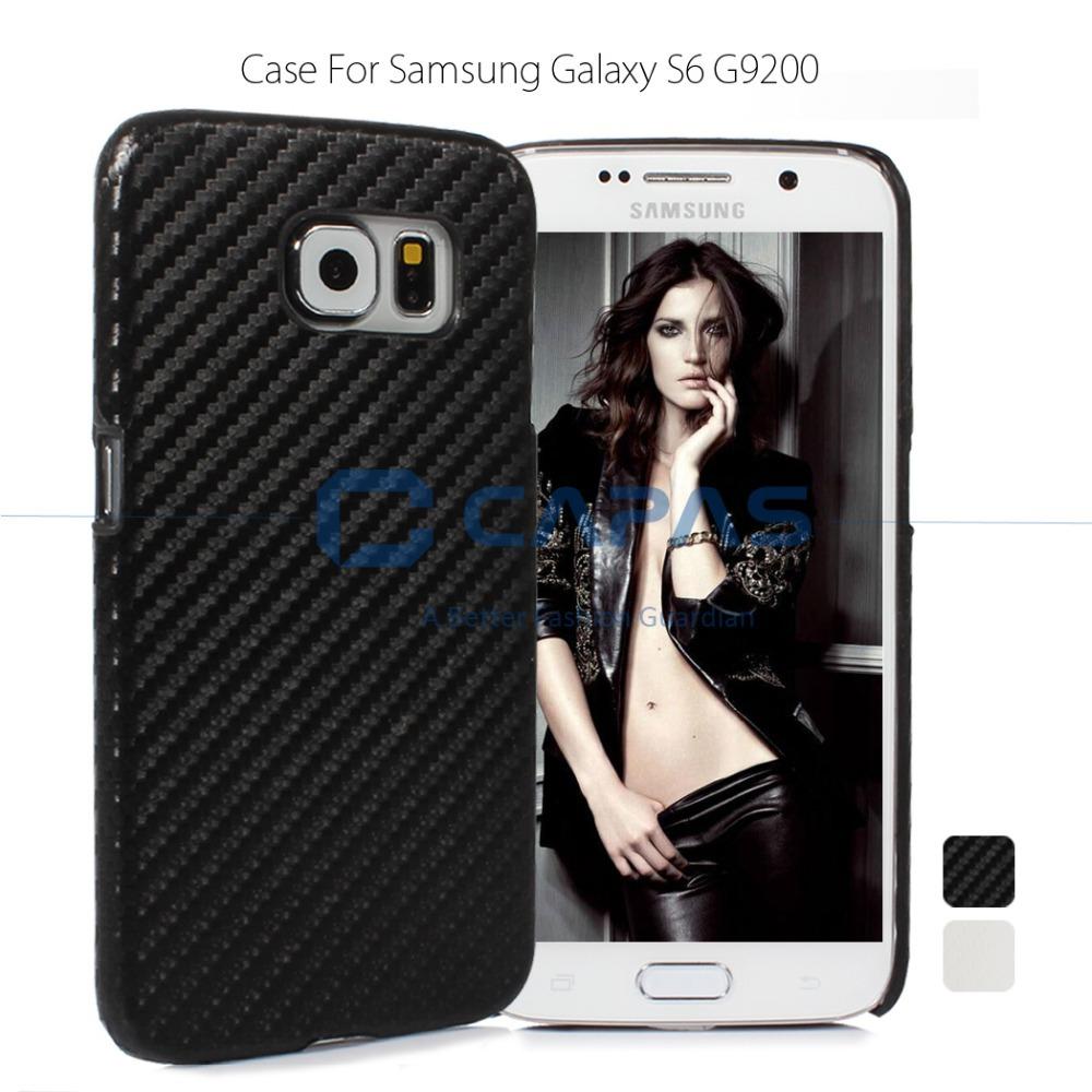 Brand CAPAS Ultra Slim Hard Plastic Cover Samsung Galaxy S6 Carbon Fiber Case - Black White Protective Shield ZERO ENTERPRISE LTD store