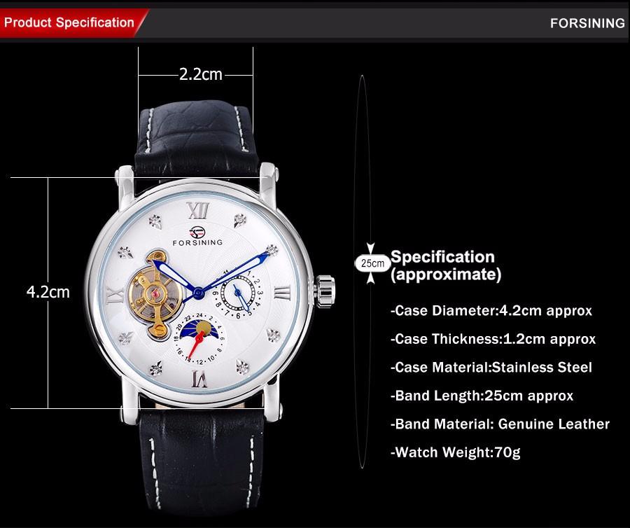 Мода Повседневная НОВЫЕ FORSINING Роскошные Римская Цифра Дейл Со Стразами Мужские Наручные Часы moon phase дисплей часы мужчины/A830