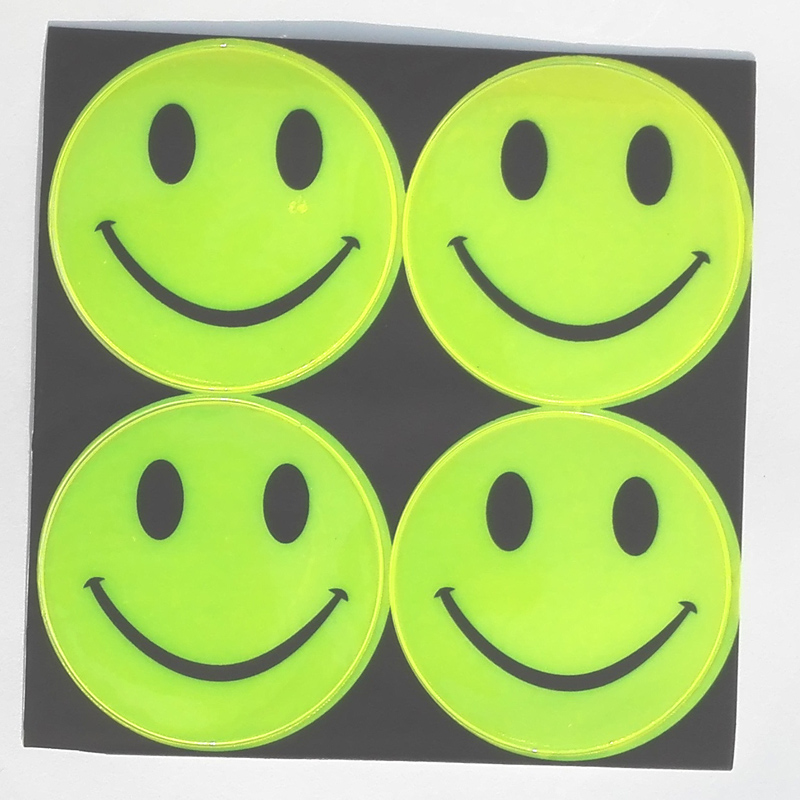 13 model, 1 sheet(4pcs),6.50CM Reflective safety sticker smile face for motorcycle,bicycle,kids toy,any where for visible safety(China (Mainland))
