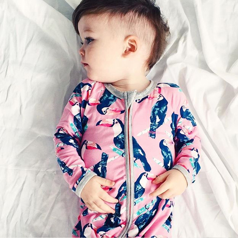 New 2016 Baby Rompers Brand Born Baby One Piece Clothes Arrival Baby Spring Autumn Costume Print Paittacide Boys Girls Rompers(China (Mainland))