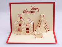 5pcs 3D Pop Up Cute Cards Greeting Merry Christmas Card New Year Gift Postcard Paper for Creativity