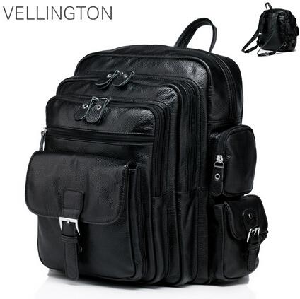 Famous brand luxury men backpack genuine leather vintage mochila black men sport double shoulder bag mens backpacks BP00042<br><br>Aliexpress