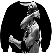Black jordan shouting print 3D sweatshirt for men boy sport style pullover basketball crewneck hoodie