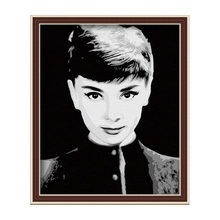 Diy digital oil painting coloring by numbers home decor hand painted modular pattern on the wall pictuer graceful Audrey Hepburn(China (Mainland))
