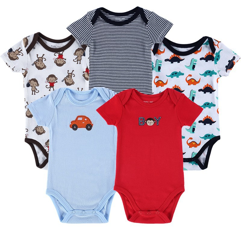 Lot Of 4 Assorted Short Sleeve Cotton Baby One Piece Newborn 0-3 Months