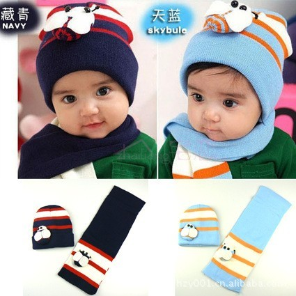 wholesale/retail,autumn and winter yarn beanie bee child hat scarf cap sleeve baby knitted ,free shipping(China (Mainland))