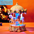 Big Creative Automatic Lifting Carousel Mini Music Box with Flashing Light Musical Boxes for Princess Love