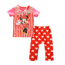 2016 baby Pajamas Sets summer Baby boys pajamas suits Girl Clothing Set sleepwear set cotton Popular cartoon shirts+trousers(China (Mainland))