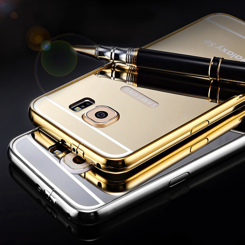 S6/S6 Edge Ultra Slim Gold Mirror Case For Samsung Galaxy S6 G9200 /Edge Luxury Aluminum Acrylic Hard Protective Back Cover(China (Mainland))