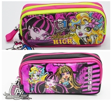 Free Shipping Double Zip Cartoon girls School Pencil Bag Children Student Pen Case Stationery Box Girl Gift For Kids