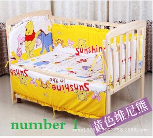Hot quality girls boy Various colors of cartoon animals 5 pcs. baby bedding set cotton children's baby bedding sets baby quilts(China (Mainland))