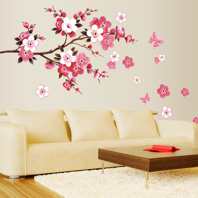 DU# Cherry Blossom Wall Poster Waterproof Background Wall Sticker for Living room Bedroom Cafe Home Decor Free Shipping(China (Mainland))