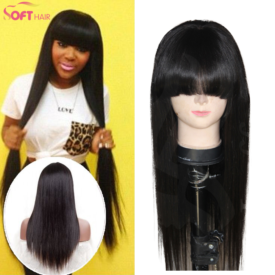 Гаджет  7A grade brazilian human hair full lace wig silky straight human full lace wig with full bangs for fashion women 150% density None Волосы и аксессуары