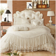 Free Shipping beige pink red purple ruffle lace wedding jacquard satin bedding set princess duvet cover set full/queen/king size(China (Mainland))