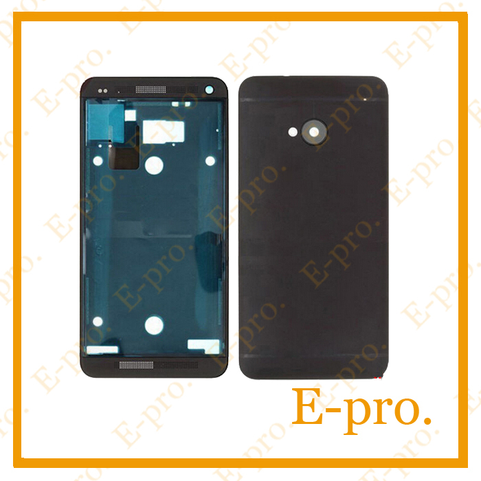 Original Full Housing For HTC One M7 801e Complete Housing Front Faceplate Cover+Back Battery Door Case +Tools Black Sliver(China (Mainland))