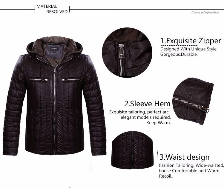 Скидки на COUTUDI 2016 Мода Горячие Продажа Зимние Куртки Мужчины Твердые Новый Jaqueta Masculina Пальто Стильный Зимой Вниз Куртки Молнии PU Теплый пальто